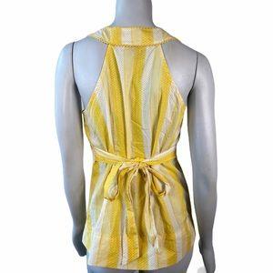 3/$25 Andrew & Co Yellow White Striped Tie Blouse